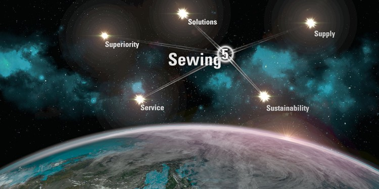 The 5 elements of Sewing5 illustrated as stars in the universe